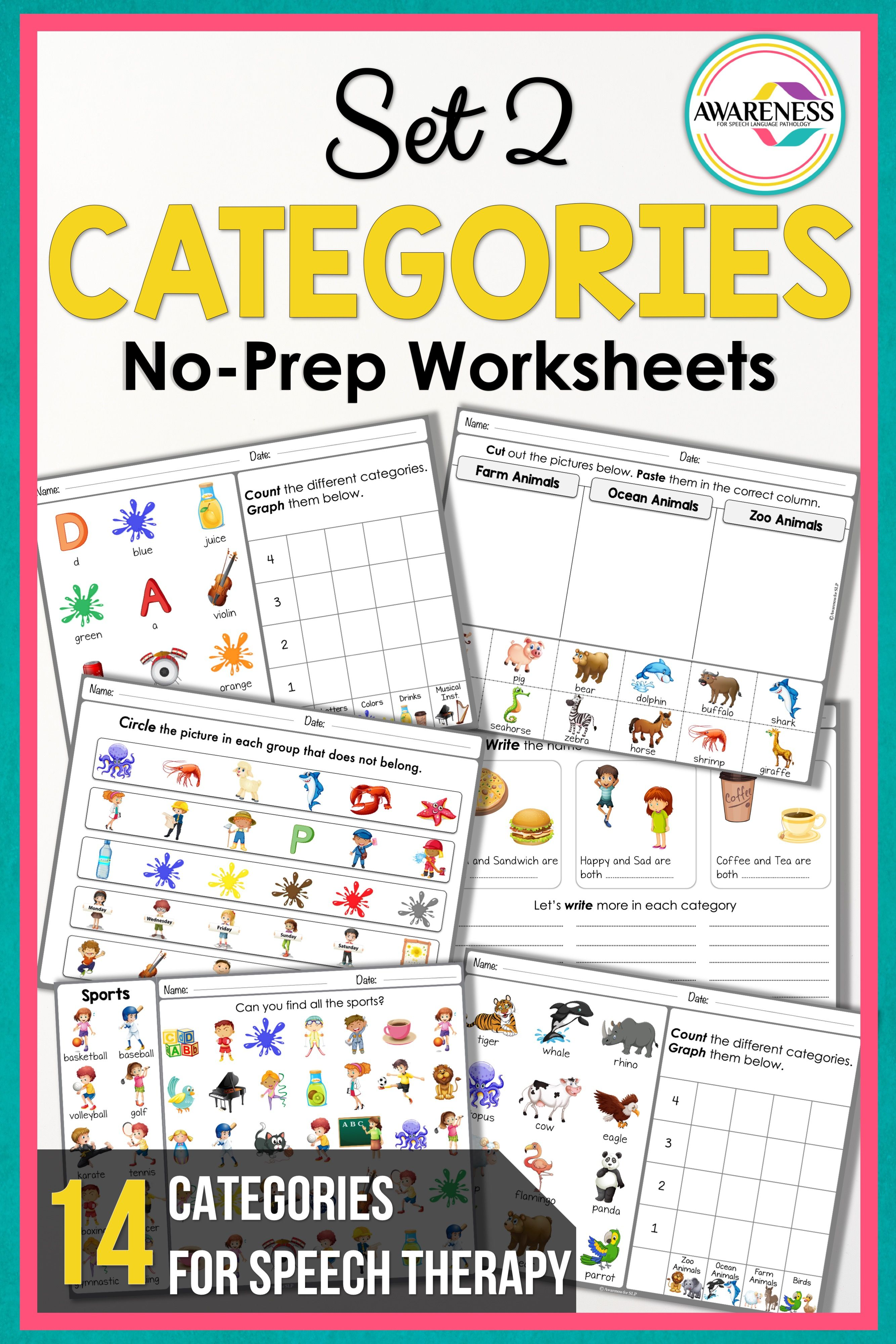 Speech Therapy Categories Worksheets