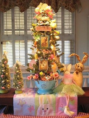 Primitive-Spring-Easter-Bunny-Tree-In-Baby-Blue-Colander-With-Lights-By-Denise