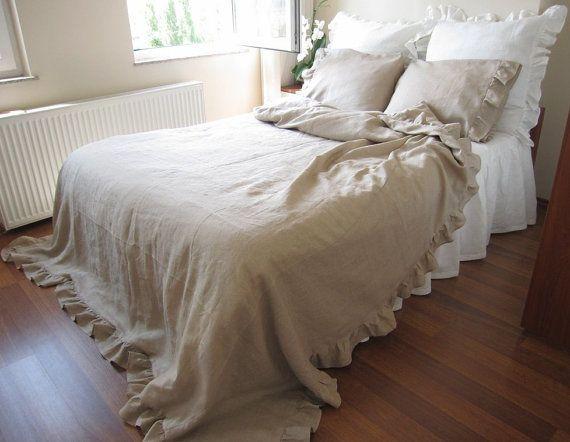 Best Linen Ruffle Duvet Cover Full Queen King Size Solid Gray 400 x 300