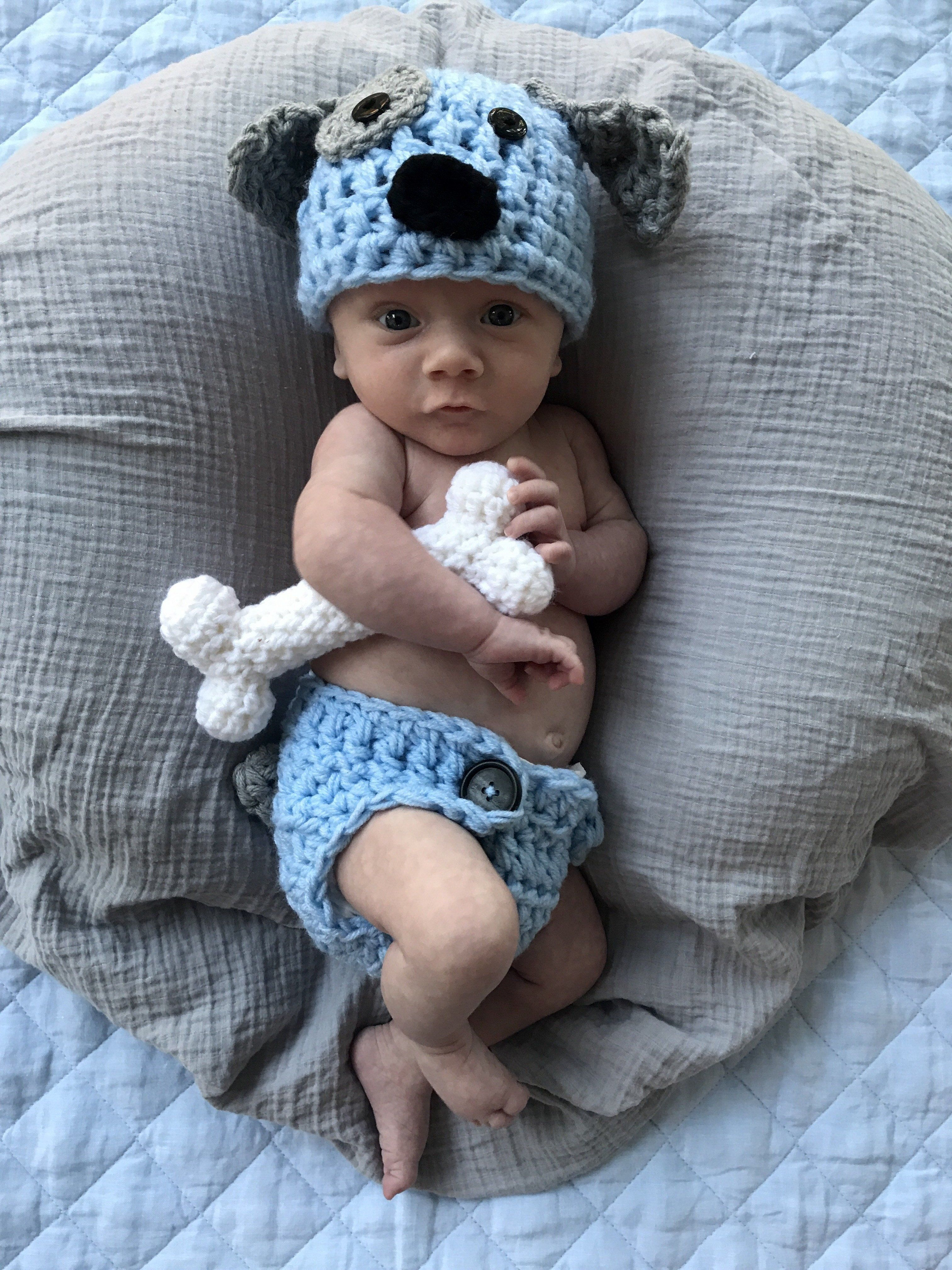 e1cea6657 Crochet Baby Puppy Outfit Light Blue Newborn Photo Prop Outfit ...
