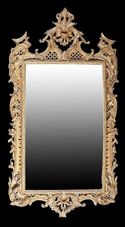 Superb George II English rococo gilt framed mirror, circa 17 ...