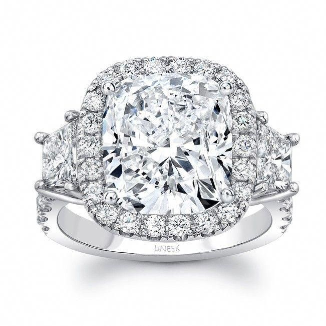 Uneek Contemporary Three Stone Engagement Ring With Cushion Cut