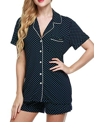 Ekouaer Pajamas Set Womens Long Sleeve Button Down Shirt Sleepwear 2 Piece Nightwear with Pants Soft Pjs