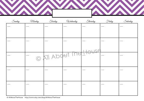 Perpetual Monthly Calendar  Blank  Purple  Lists And Stuff