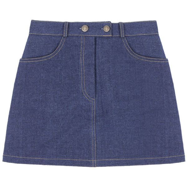 Double Button-Front Denim Mini Skirt (1.112.380 VND) ❤ liked on Polyvore featuring skirts, mini skirts, bottoms, clothes - skirts, a-line skirt, mini skirt, a line mini skirt, button-front denim skirts and blue skirt