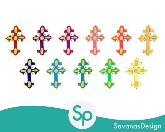 Cross Clipart Set Colorful Cross Clipart Digital by SavanasDesign