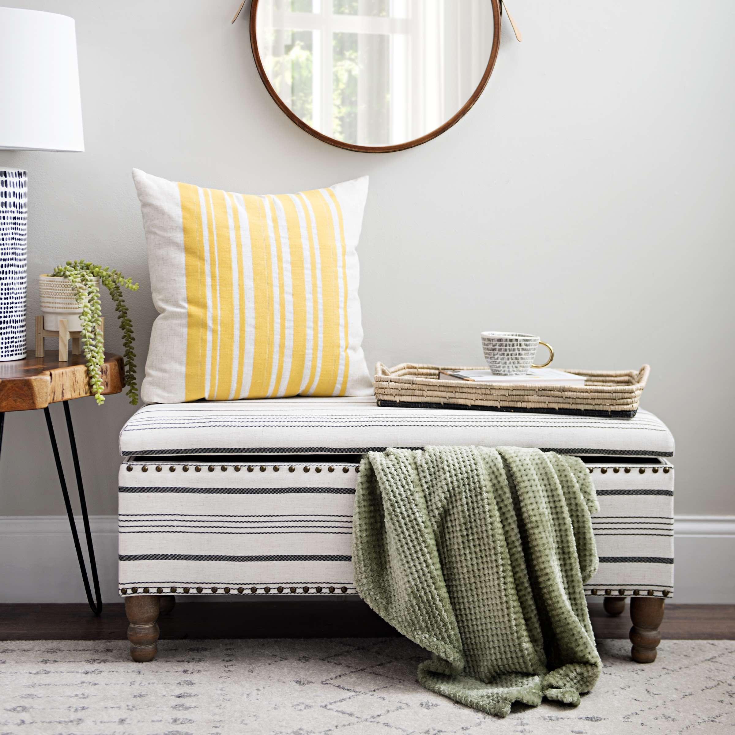 Black and white striped storage bench furniture bench