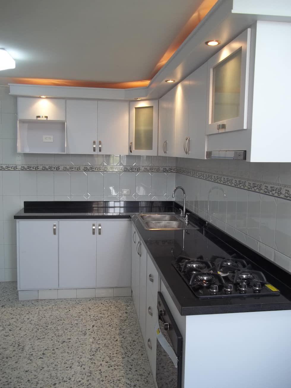 Cocina integral con meson en granito natural negro cocina - Granito para cocina ...