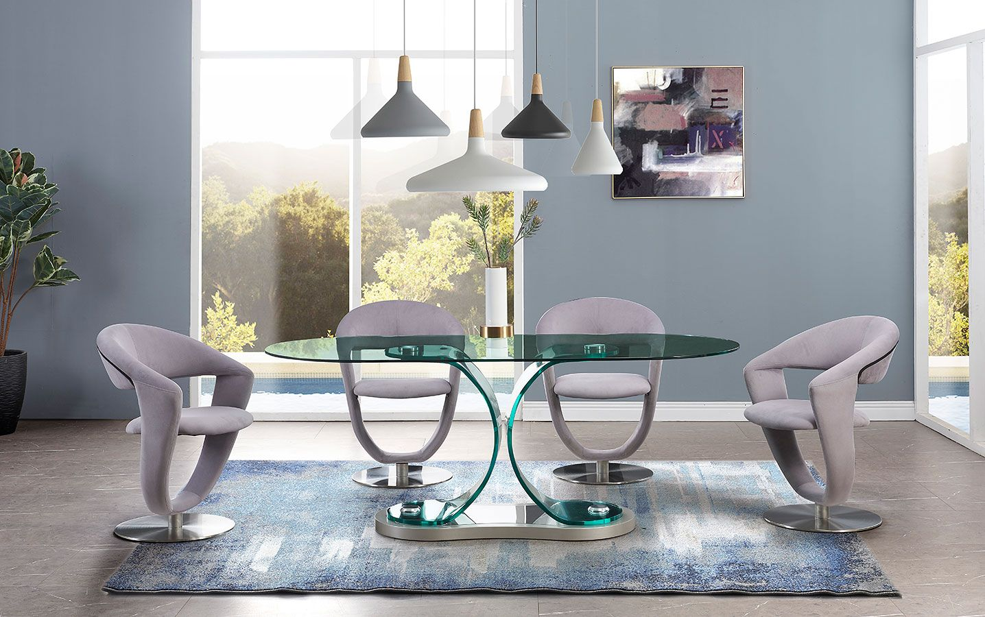 D1713 Dining Room Set W Swivel Chairs Modern Dining Table Global Furniture Global Furniture Usa