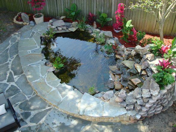 Koi pond pictures ideas patiomeets koi pond blue stone for Stone koi pond