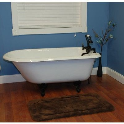 55 inch Cast Iron Rolled Rim Clawfoot Bathtub (Tub & Clawfoot Set ...