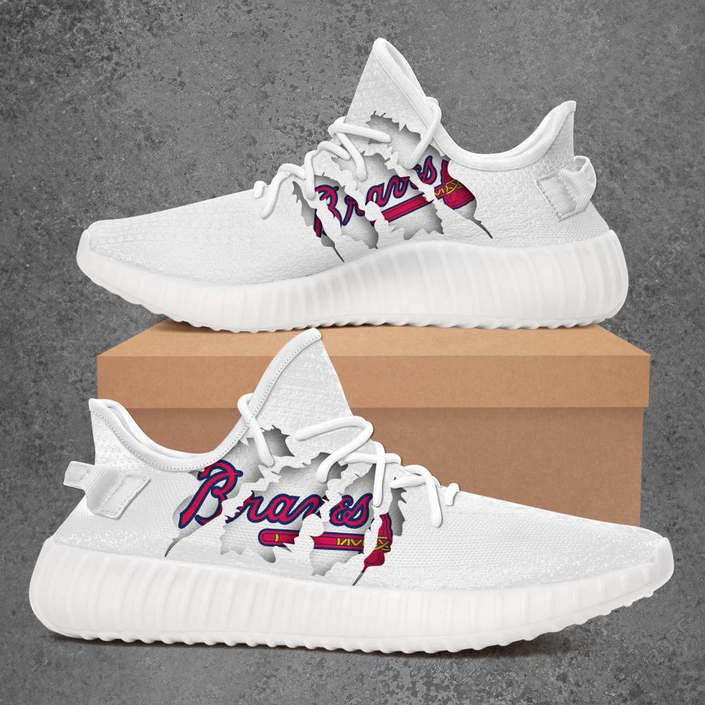 Atlanta Braves Mlb Limited Edition White Yeezy Sneaker Ver 1 Yeezy Sneakers Yeezy Sneakers