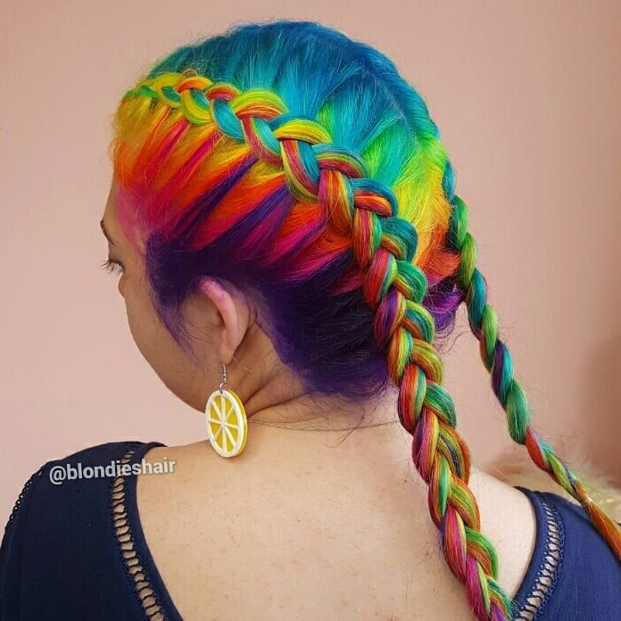 Vivid rainbow braids To book an appointment contact