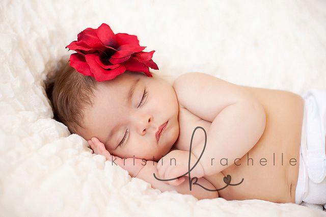 White ruffles with red flower newborn