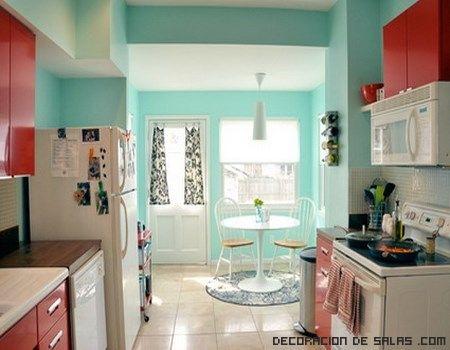 Cuisine aux couleurs vintage Rouge et turquoise Du0027kor - salas vintage
