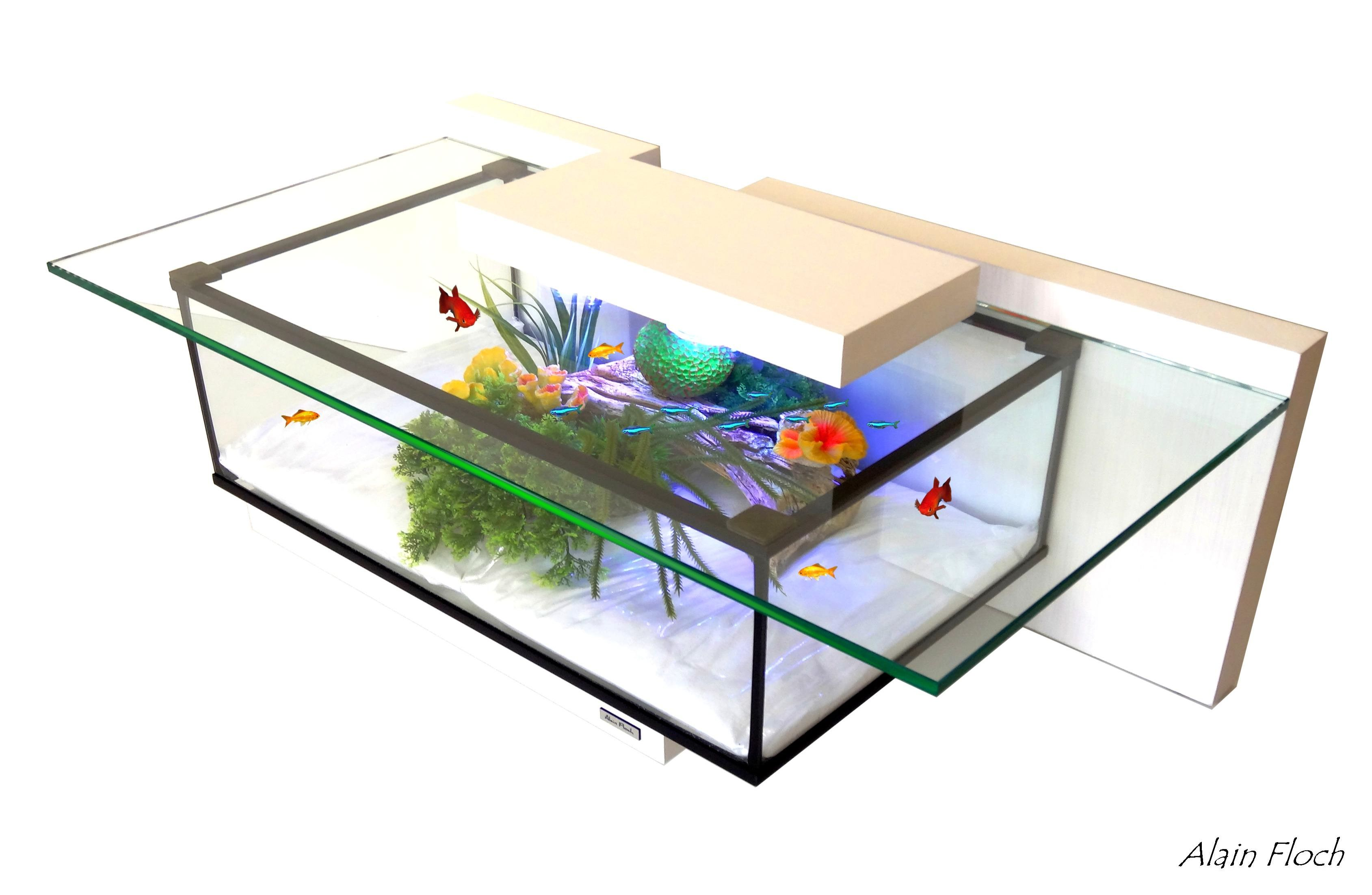 Petite table basse aquarium TINY 20 LED sans fil / Coffee table ...