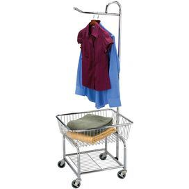 Featuring A Valet Bar And Bottom Shelf This Rolling Laundry Cart Brings A Touch Of Ease To Wash Day With Images Laundry Cart Household Essentials Clothes Dryer Rack