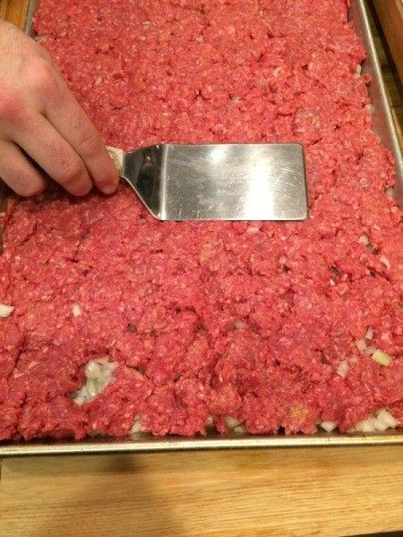 Easy Cookie Sheet Sliders - press beef into pan 1