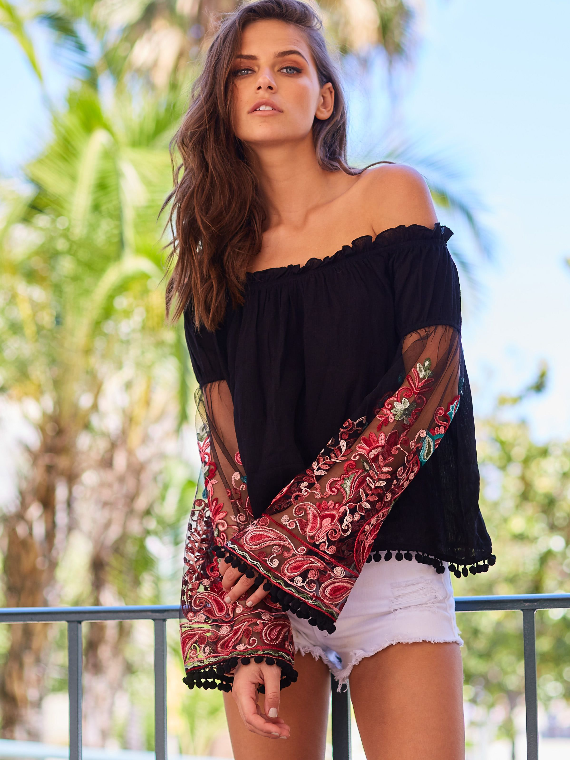 565270d9523526 Black Ruffle Off The Shoulder Embroidered Bell Sleeve Top -SheIn(Sheinside)