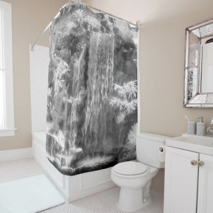 Waterfall Shower Curtain Zazzle Com Tropical Shower Curtains