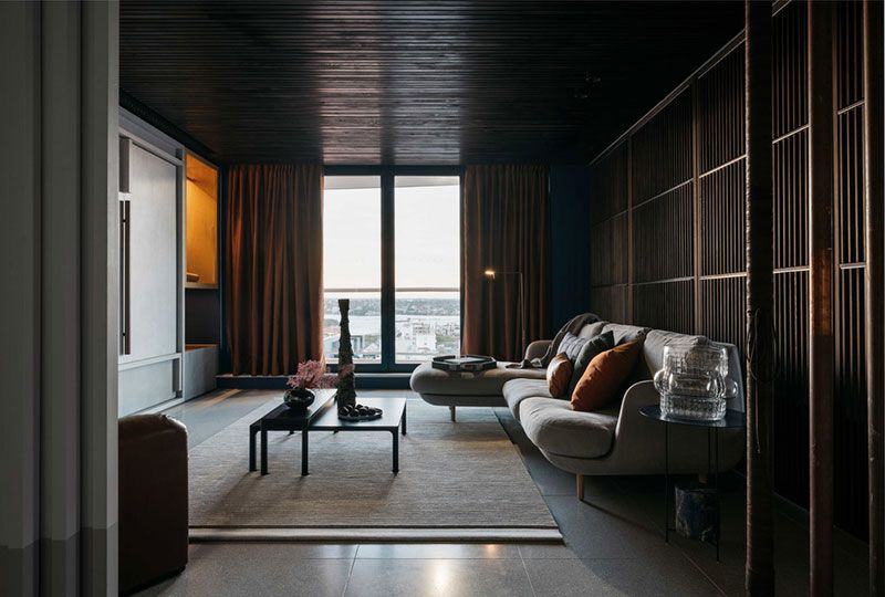 Black And Concrete Stylish Bachelor Apartment In Sydney With