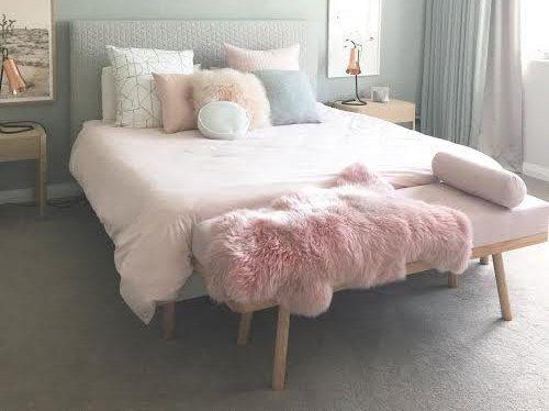Champagne Pink Sheepskin Rug Pale Nursery Decoration Baby Throw Rose Gold