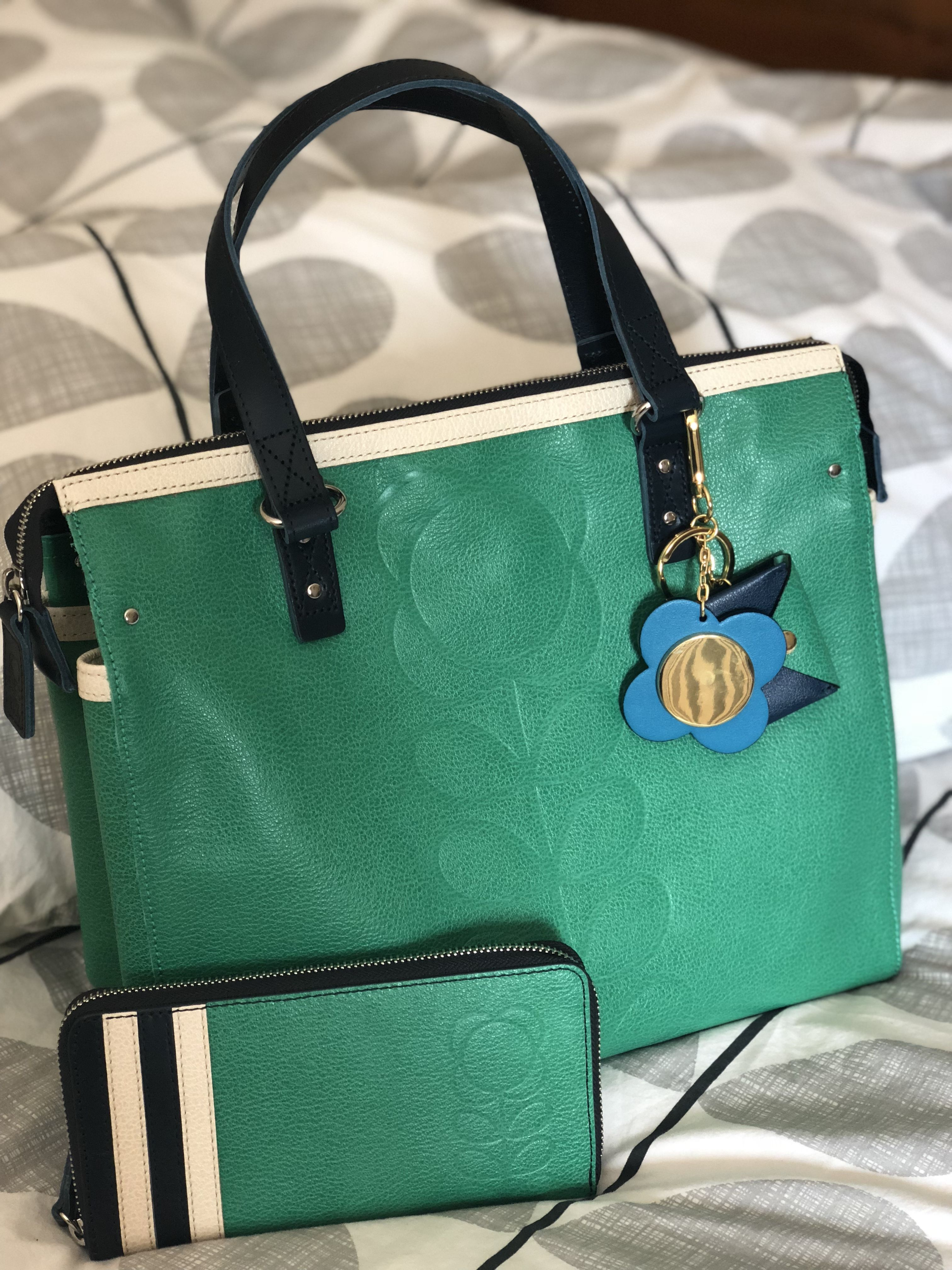e9eed1208aff Orla Kiely Embossed Stem Leather Messenger bag in Jade  orlakiely ...