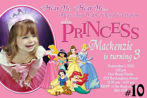 20 Printed Disney Princess Personalized Birthday Invitations Photo