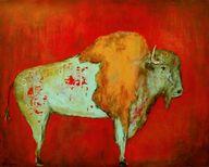 Red Buffalo art print Southwestern distressed wall art , by Laura Sue, $20