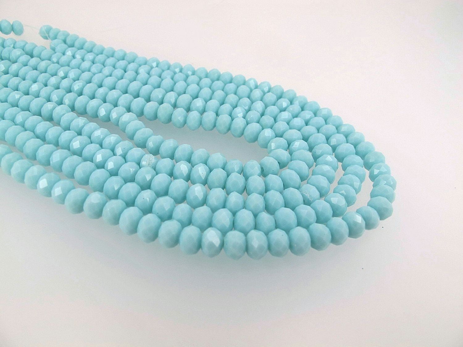Baby blue faceted glass beads Light blue rondelle beads Full strand DIY loose beads by Susiesgem on Etsy