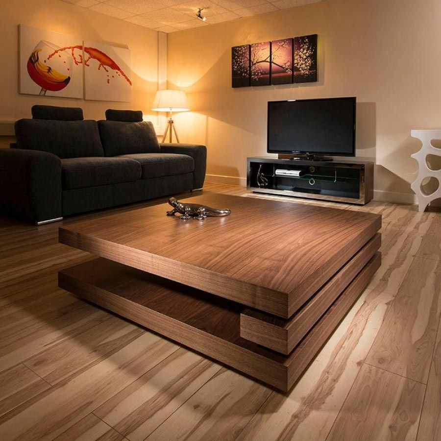Square Low Coffee Table Large Dark