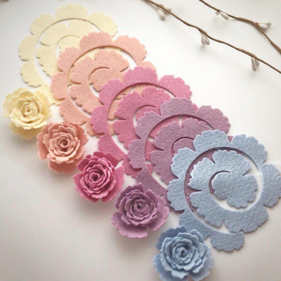 Цветочки из фетра 3 | Розы из войлока, Поделки из войлока ...  Цветочки Розы