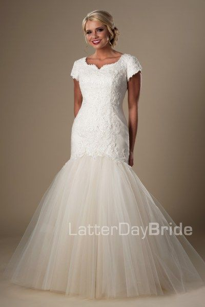 modest lds wedding dresses with mermaid skirt and lace, the ...