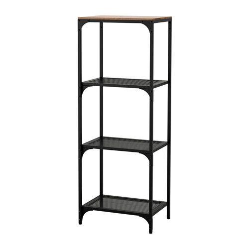 IKEA - FJÄLLBO, Hylly, , Metallista ja massiivipuusta valmistettu rustiikkinen hylly sopii loistavasti sekä esineiden säilytykseen että esillelaittoon.Yksinkertainen kokonaisuus on hyvä ratkaisu pieneen tilaan. Tarpeen tullen sitä voi kasvattaa mieleisekseen.Säilytyskaluste pysyy vakaasti pystyssä myös epätasaisella pinnalla, sillä siinä on säädettävät jalat.