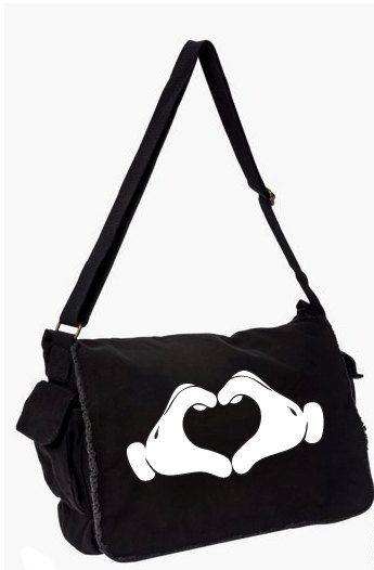 Mickey Mouse Heart Hands Disney Messenger Bag, Computer Bag, Hand Screen Printed Cotton Canvas Messenger Bag