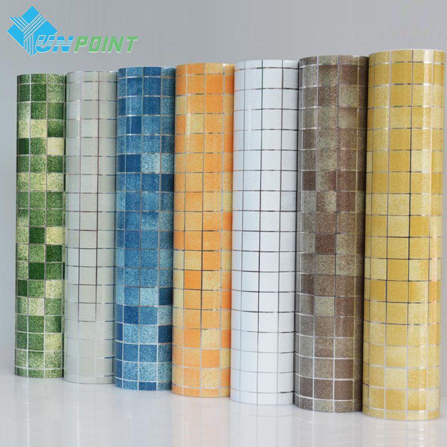 Barato pvc mosaico papel de parede do banheiro adesivos de for Papel de pared barato