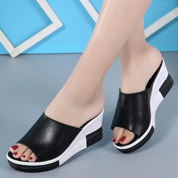502cf1cfb25 Ladies Sandals Genuine Leather Flip Flops Wedges! sandals