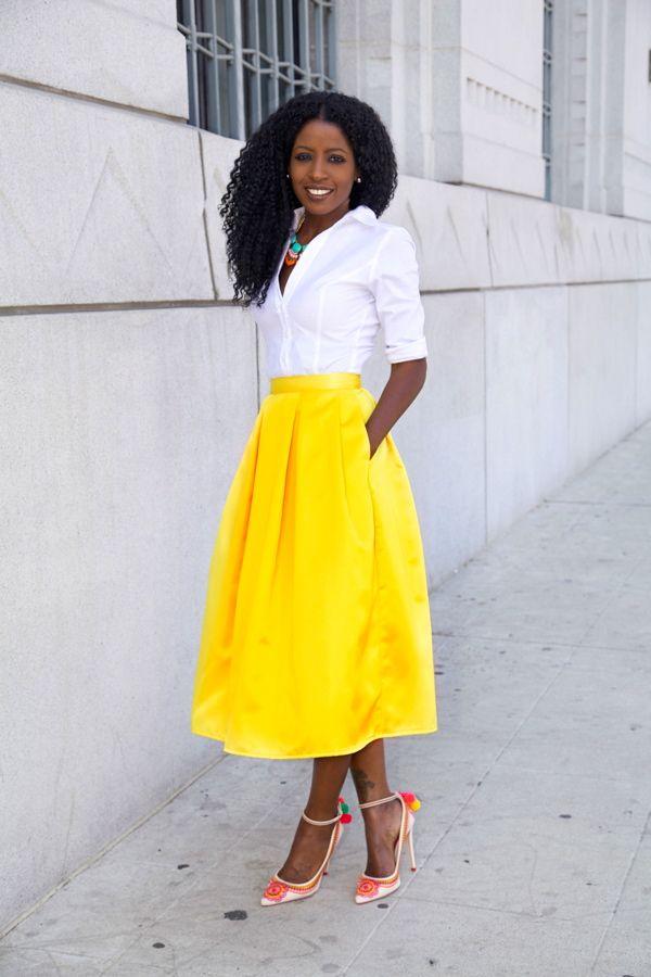 White Button Up Blouse Yellow Pleat Midi Skirt Yellow