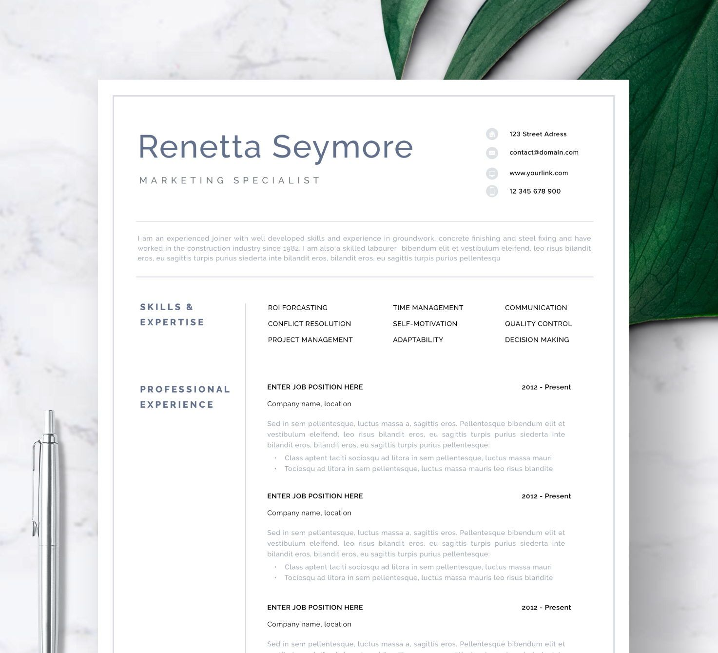Professional Resume Template for Word and Pages Simple