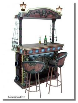 Pirate Ship HOME BAR FURNITURE Wall Lantern Lights Old Style Cannons