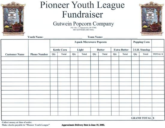 Fundraiser Order Form Template Fundraising Order Forms  Budgeting
