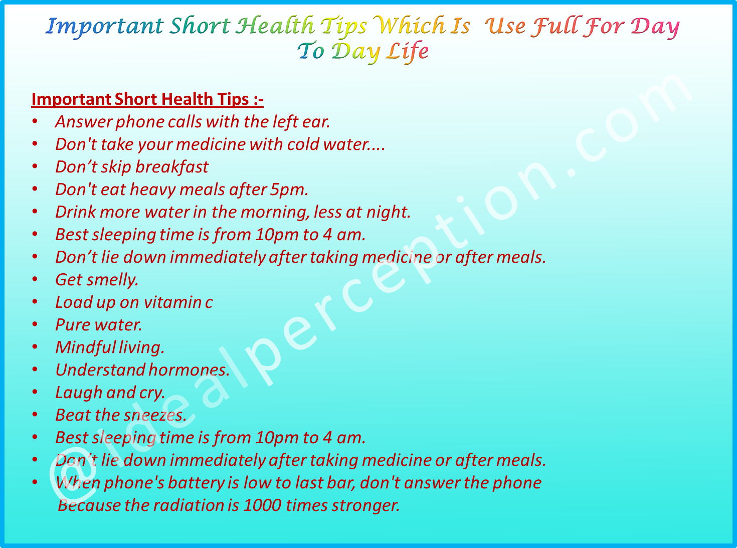 theses all important short health tips for day to day life  theses all important short health tips for day to day life activity for common man