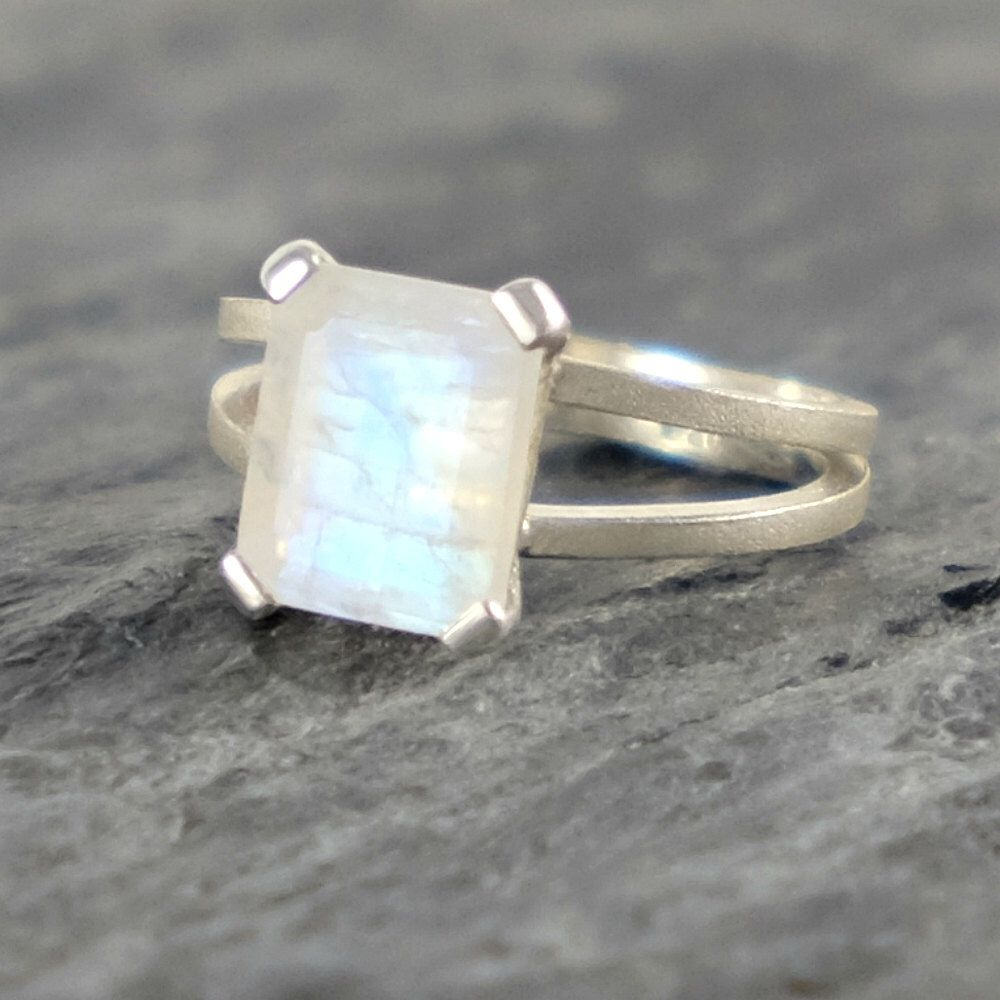 Moonstone engagement ring rainbow moonstone sterling silver ring