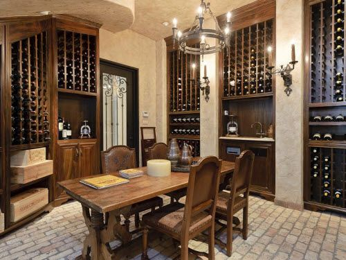 Classic Old World Wine Cellar with Large Wine Crate Shelving