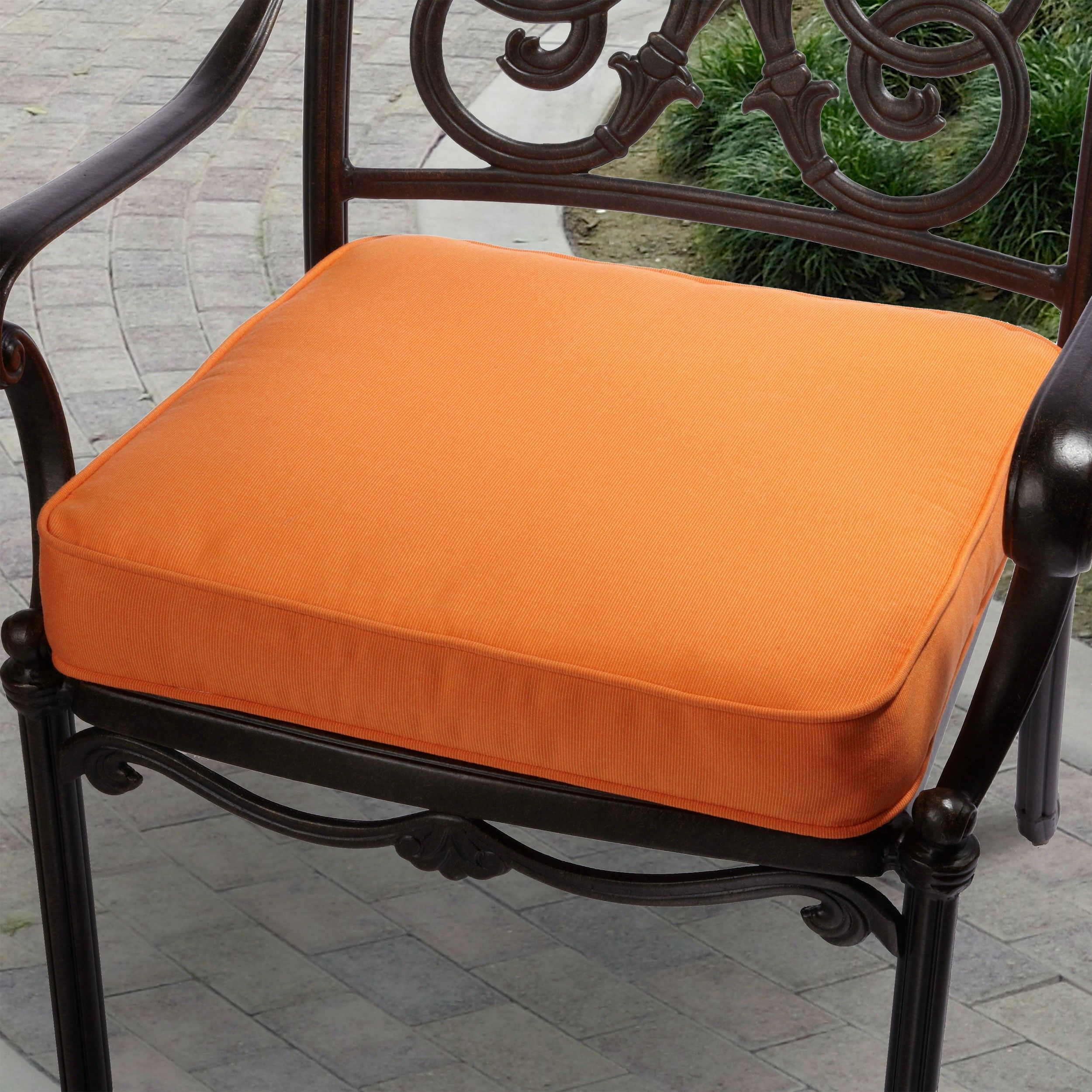 indoor outdoor textured bright 20 inch chair cushion with sunbrella rh pinterest com