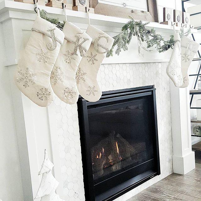 marble hexagon tile around fireplace craftsman mantel christmas mantel