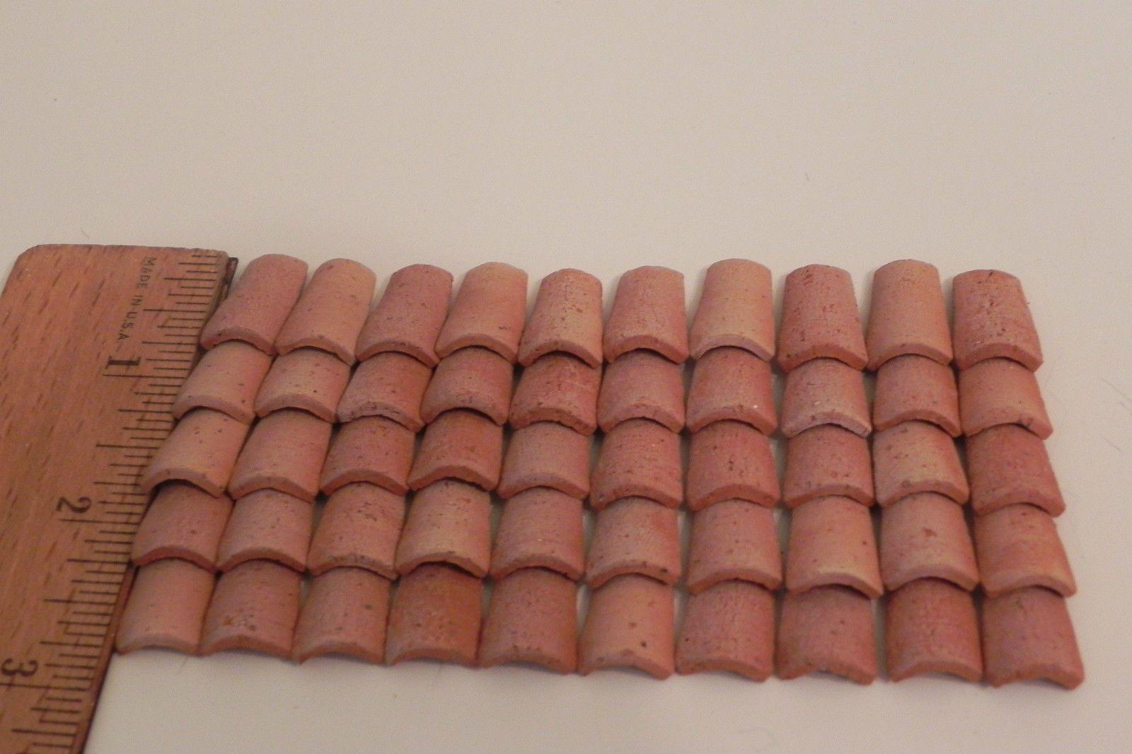 Dollhouse Miniature Spanish Barrel  Terra Cotta Tiles 50 pcs.