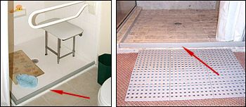 Collapsible Water Retainer Shower Dam For Wheelchair Threshold Roll In Showers And A Handicap Stall