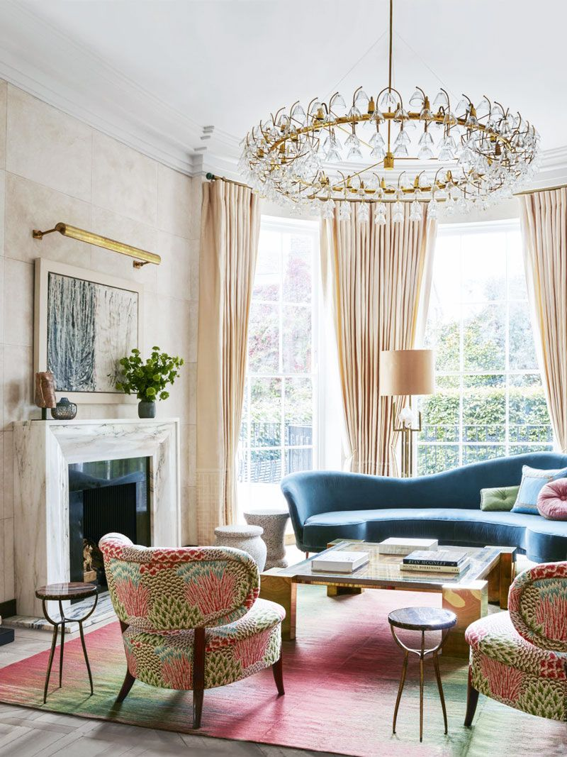 Art Deco Living Room With Pink Palette In London Via Thouswellblog Art Deco Living Room Living Room Colors Living Room Decor