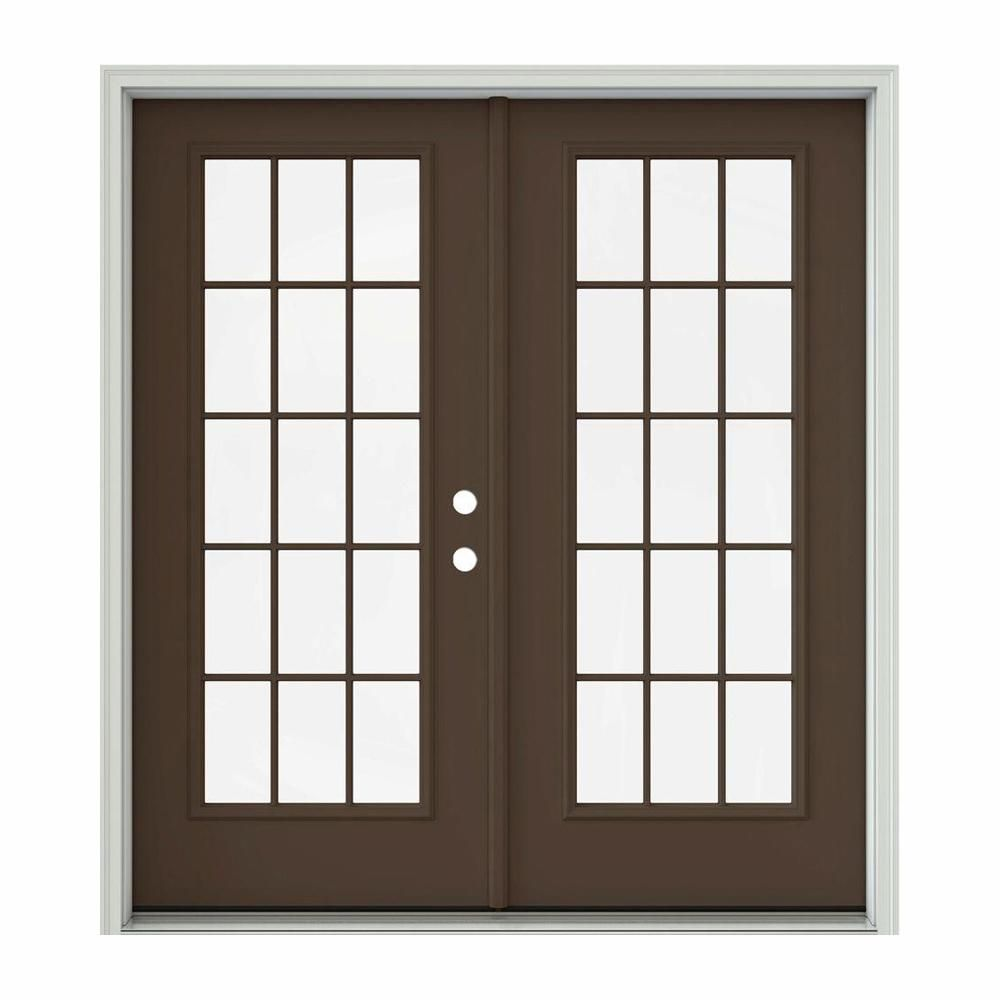 Jeld Wen 72 In X 80 In Dark Chocolate Painted Steel Left Hand Inswing 15 Lite Glass Active Stationary Pa Patio Doors Interior Barn Doors Cheap Interior Doors